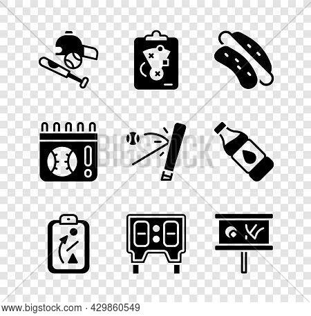 Set Baseball Bat With Ball, Hat, Planning Strategy, Hotdog Sandwich, Mechanical Scoreboard, Calendar