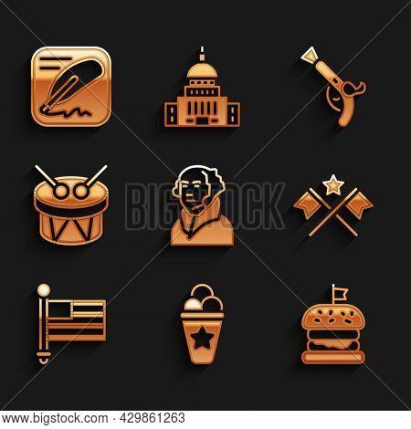 Set George Washington, Ice Cream Waffle Cone, Burger, American Flag, Drum And Drum Sticks, Vintage P