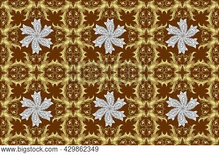 Classic Raster Golden Seamless Pattern. Seamless Pattern On Neutral, Yellow And Brown Colors With Go