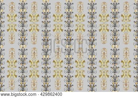 Raster Golden Seamless Pattern. Flat Hand Drawn Vintage Collection. Backdrop, Fabric, Gold Wallpaper