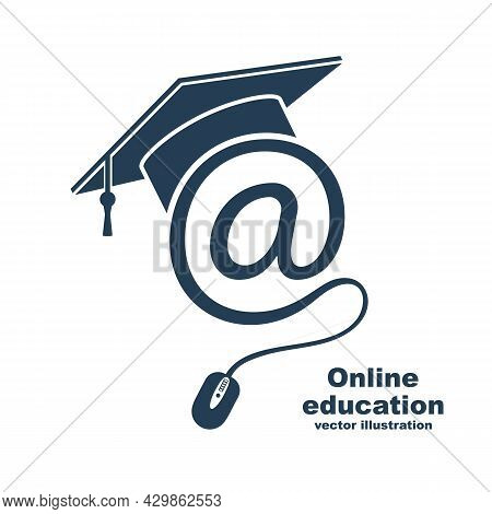 E-learning Concept. Logo Learning Online Center And Graduation. Vector Illustration Flat Design. Abs