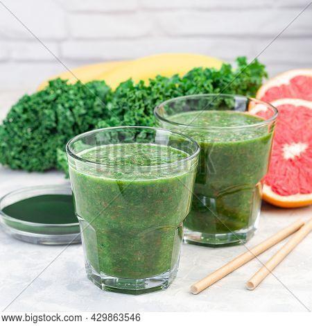 Healthy Vegan Green Smoothie With Kale, Chlorella, Banana And Grapefruit, Detox Drink, Square Format