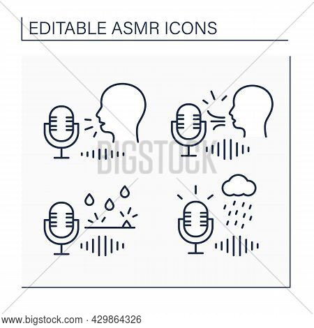 Asmr Line Icons Set. Water Drops, Blowing, Storm Sounds.modern Trends. Internet Trend Concept. Isola