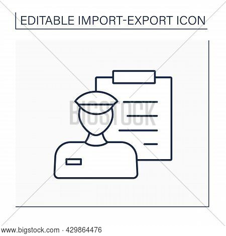 Customs Line Icon. Official Department. Customs Officers Administer And Collect The Duties From Impo