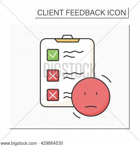 Neutral Customer Experience Color Icon. Clipboard And Neutral Smile. Marketing Research, Consumer Ex