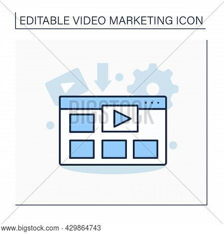 Video Template Line Icon. Sample Video, Frame Work. Creators Customise And Make Their Own Content.vi