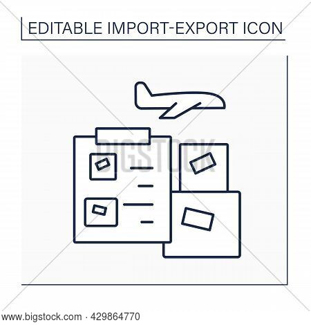 Air Waybill Line Icon. Document Accompanies Goods Shipped By An International Air Courier. Informati