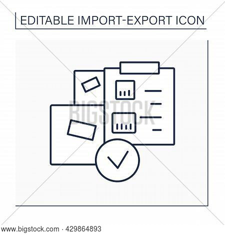 Packing List Line Icon. International Trade Document. Information About Shipment, Dimensions And Wei