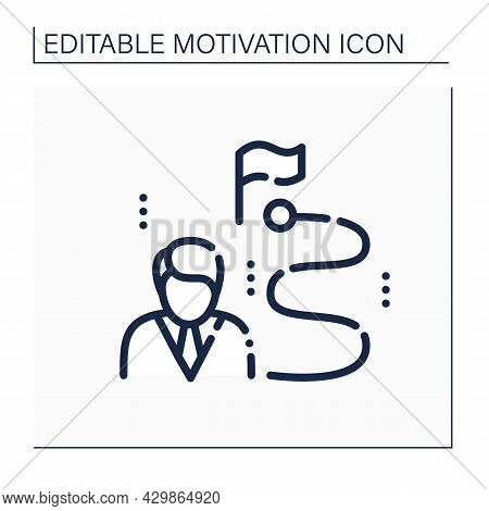 Way To Success Line Icon. Achievement Of Desired Visions And Planned Goals. Hard Way To Attain Wealt