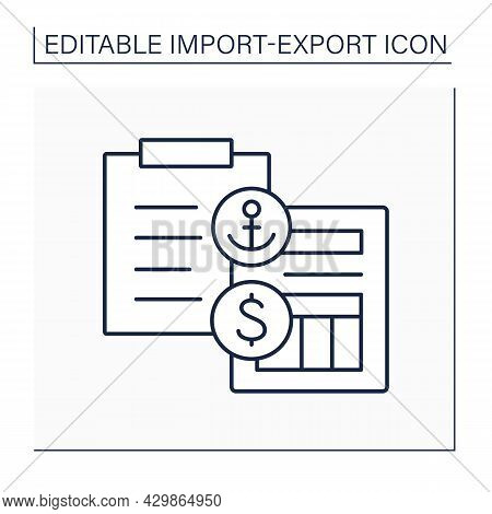 Receipt Line Icon. Legal Document Between Shipper And Carrier. Ship Cargo Detailed List. Bill Of Lad