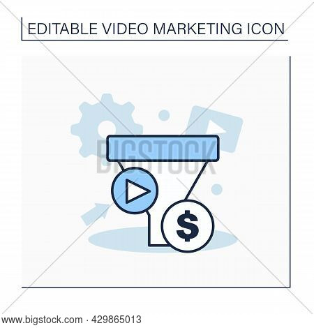 Funnel Line Icon.content Marketing Funnel.tool Designed To Attract, Educate, Convert, And Retain Buy