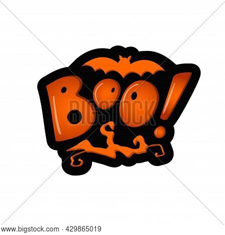 Boo!, Orange Letters With A Twisted Tree Branch And A Bat And Shadow On The White Background. Vector