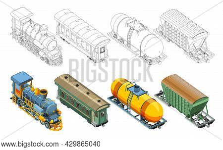 Set With Coloring Page And Colorful Steam Locomotive, Passenger Railway Carriage, Freight Car, Wagon