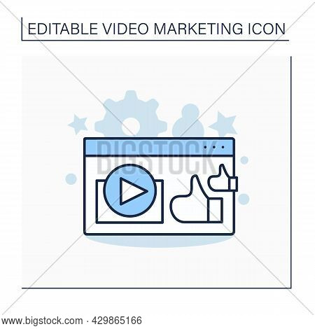 Customer Testimonial Video Line Icon. Positive Review On Products Or Services. Client Praising Compa