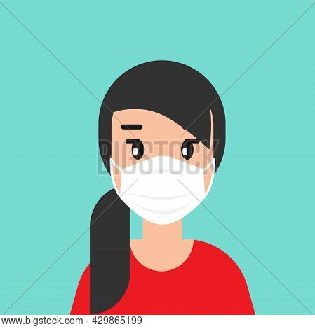 Girl With Medical Mask Avatar. Cute Woman With Black Hair. Flat Icon On Blue Background. Person Char