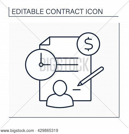 Employment Contract Line Icon. Labour Law. Rights And Responsibilities Between Employee And Employer