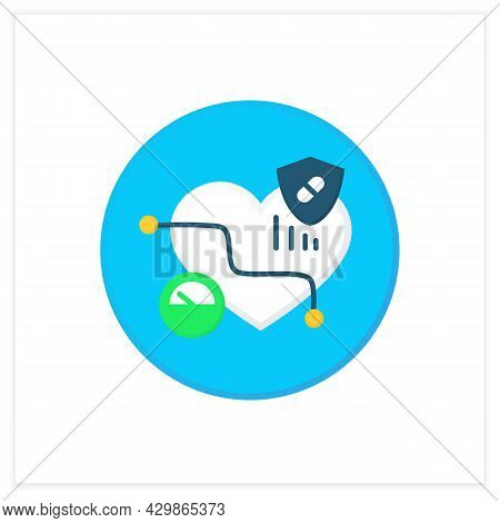Probiotics Flat Icon. Low Blood Pressure. Medicines And Dieting For Heart Hypertension Decrease.medi