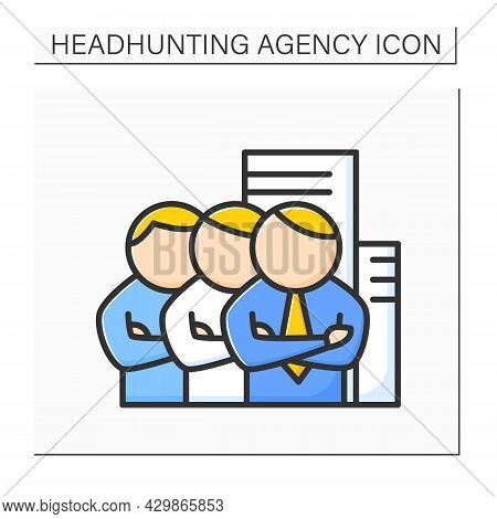 Employers Color Icon. Organization Employs People. Business Sector That Hires And Pays People For Wo