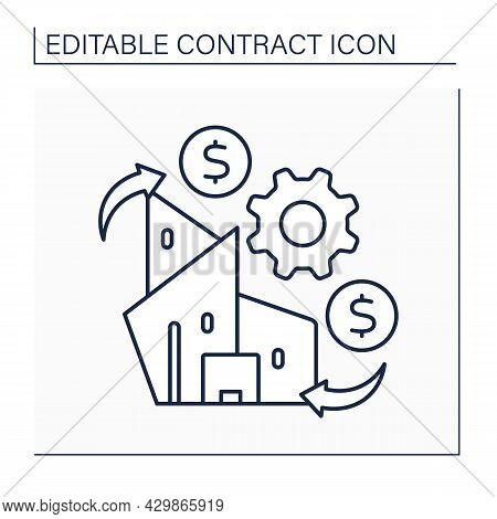Going Concern Line Icon. Company Ability To Continue Operations Or Business In Future With Availabil