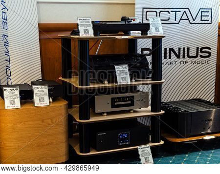 Moscow, Russia - May 23, 2021: Audio Equipment From Technics, Charisma Audio, Octave, Powergrip, Pli