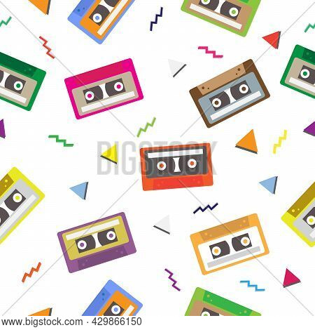Seamless Audio Cassette Tape Pattern. 1980s Retro Technology Background. Vector And Illustration Des