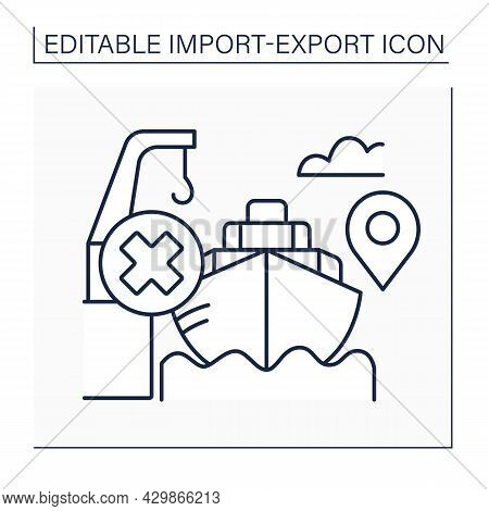Free Alongside Ship Line Icon. Seller Arranges For Goods Purchased To Be Delivered Next To A Particu