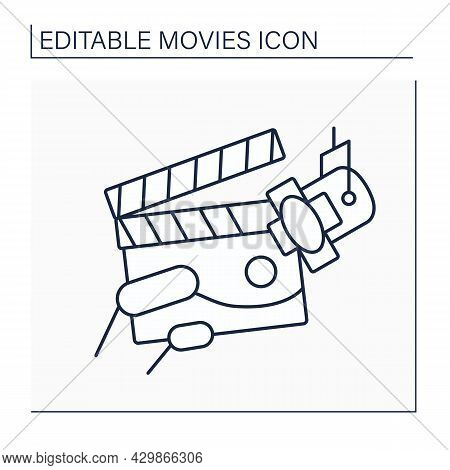 Scene Line Icon Place Where Action Or Event, Imaginary. Setting For Action Of Play, Novel, Film. Dec