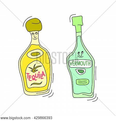 Tequila And Vermouth With Smile On White Background. Cartoon Sketch Graphic Design. Doodle Style Wit