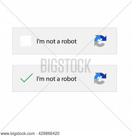I Am Not Robot On White Background. Captcha I Am Not A Robot Computer Code. Website Security Form Si
