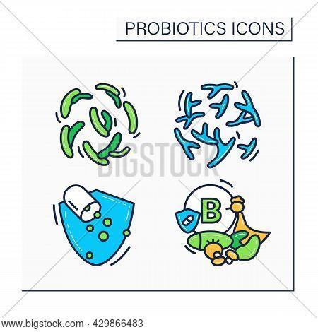 Probiotics Color Icons Set. Bifidobacterium, Lactobacillus, Pills, Vitamin B Source. Medicine And He