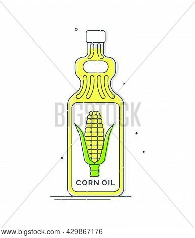 Corn Oil Bottle. Plastic Container With A Label In Form Of Corn On Cob. Great Colorfull Design For A