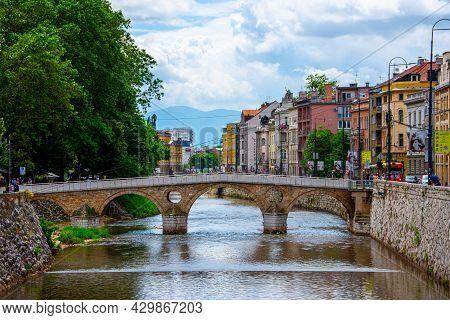 Famous Latin Bridge In Center Of Sarajevo Capital City Of Bosnia And Herzegovina 2019.06.24