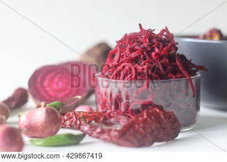 Grated Beetroot, Main Ingredient Of Beetroot Raita Or Pachadi. A Yogurt Based Beetroot Side Dish