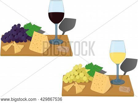 Serving Board With Glass Of Wine, Grapes And Cheese Slices Vector Illustration