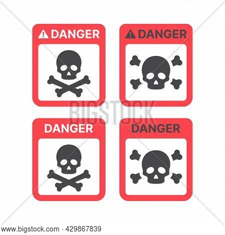 Danger Warning Sign With Skull And Crossbones. Poison, Toxic Or Biohazard Icon.