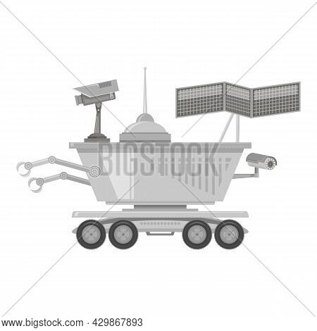Lunar Rover Icon Isolated On White Background. Robotic Space Vehicle For Investigation, Study, Resea