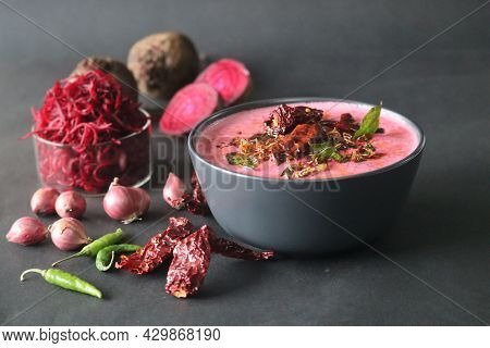Beetroot Pachadi. A Yogurt Based Beetroot Side Dish