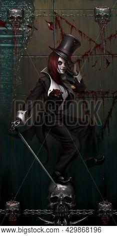 Digital Illustration Of Full Figure Realistic Fantasy Dark Gothic Evil Girl Female Dress In Suit Dan