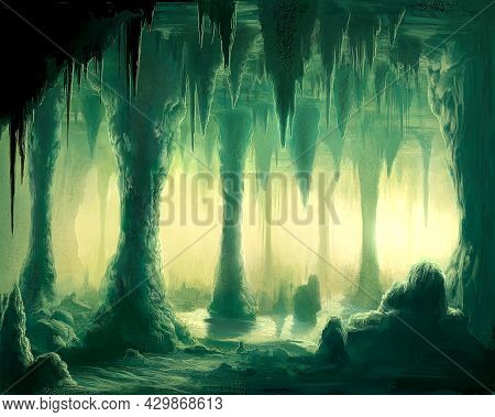 Digital Illustration Of Underground Stalactites Formation Cave
