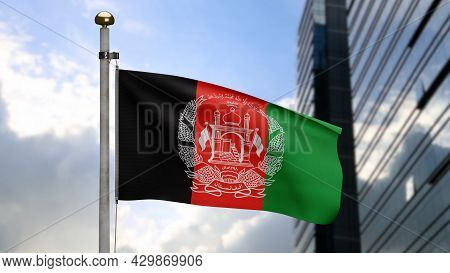3D, Afghan Flag Waving On Wind. Close Up Of Afghanistan Banner Blowing Soft Silk