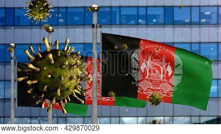 3D, Flu Coronavirus Floating Over Afghan Flag. Afghanistan And Pandemic Covid 19