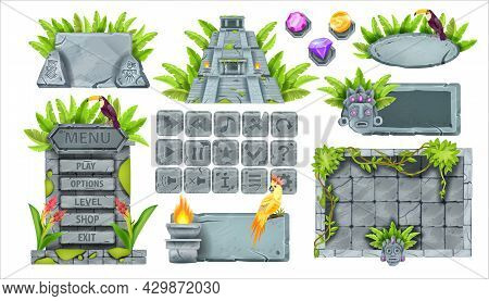 Stone Game Ui Vector Set, Rock Interface Button Kit, Vector Ancient Maya Ruin, Sign Board, Aztec Pyr