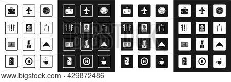 Set Compass, Passport, Airport Runway, Suitcase, Metal Detector In Airport, Plane, Jet Fighter And B