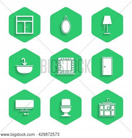 Set Makeup Mirror With Lights, Toilet Bowl, Washbasin Cabinet Tap, Closed Door, Smart Tv, Water, Tab