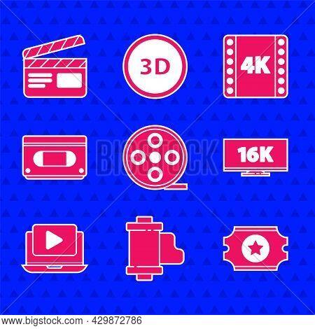 Set Film Reel, Camera Vintage Film Roll Cartridge, Cinema Ticket, Screen Tv With 16k, Online Play Vi