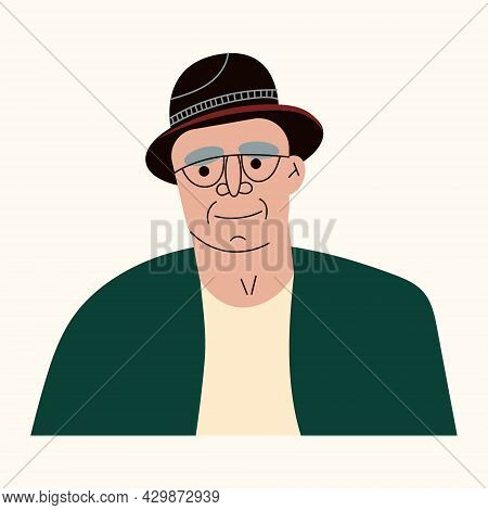 Portrait Of Old Man Wearing Glasses And Hat. Gentleman With Grey Hair And Wrinkles, Elderly Male Cha