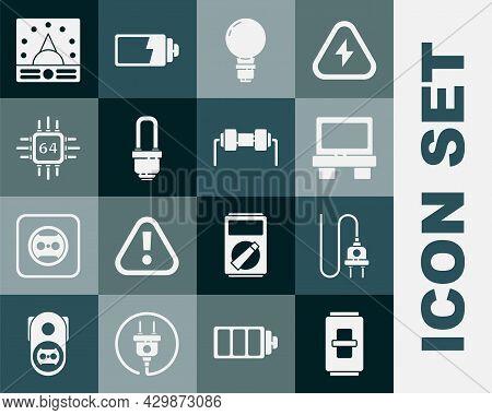 Set Electric Light Switch, Plug, Fuse, Light Bulb With Concept Of Idea, Led, Processor Microcircuits