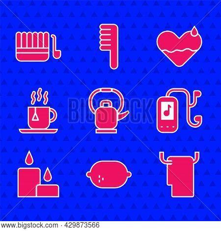 Set Kettle With Handle, Lemon, Towel Hanger, Music Player, Burning Candle, Cup Of Tea Tea Bag, Heart