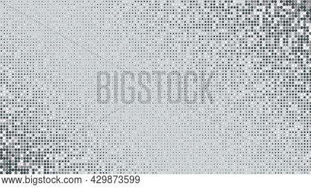 Abstract Light Glittering Gray Dotted Background With Dark Corners. Pop Art Grey Retro Texture For W