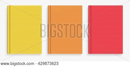 Rectangular Vector Blank Warm Colors Realistic Book Cover Mockups Set, Closed Organizer Or Notebook